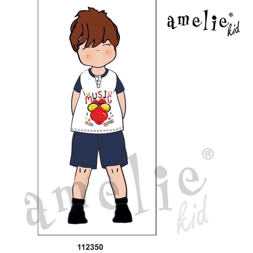 95c2771608b Promo Πυτζάμα Παιδική Για Αγόρι Κοντό Μανίκι & Κοντό Παντελόνι «Music»  Amelie