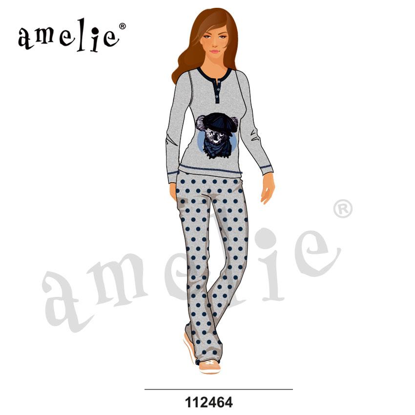 Promo Πυτζάμα Γυναικεία Με Μακρύ Μανίκι   Μακρύ Παντελόνι Amelie 8ad308befa0