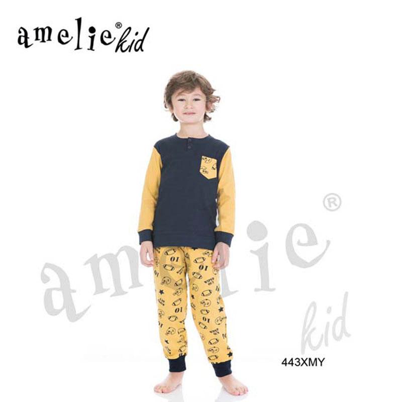32e95555aaf Πυτζάμα Παιδική Για Αγόρι Με Μακρύ Μανίκι & Μακρύ Παντελόνι «Rugby» Amelie